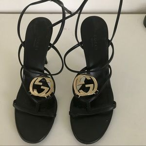 Gucci GG Black High Heel Sandals Strappy 38